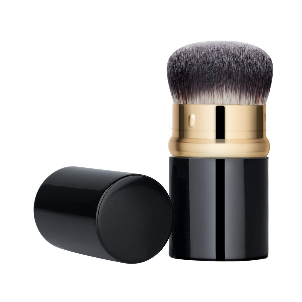 BLD Foundation Kabuki Brush Retractable - Best Portable Brush for Liquid or Cream Foundation/Concealer/Powder, Super Soft Dense Synthetic Hair