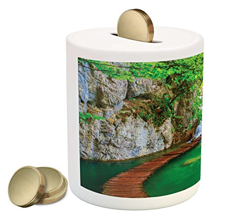 Ambesonne Waterfall Piggy Bank  Cascade Path Over The Lake By The Waterfall And Hills Mother Nature Theme Idyllic  Printed Ceramic Coin Bank Money Box For Cash Saving  Green Grey