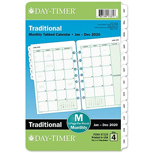 Day-Timer 2020 Monthly Planner Refill, 5-1/2