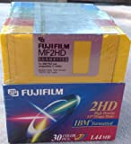 """Fujifilm 2hd High Density IBM Formatted 3.5"""" Floppy Discs (30 Pack Assorted Colors)"""