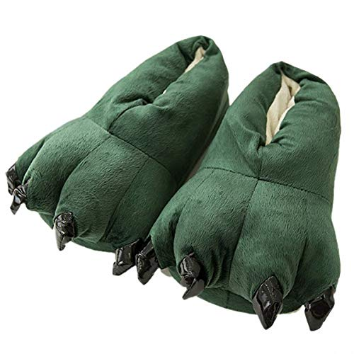 Akanbou Cosplay Monster Paw Plush Slippers Monster Feet Claw Slippers Home Shoes (Men 7-10 yards, Green)