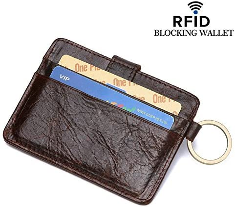 RFID Key Ring Mini-Protective Wallet for Credit RFID Blocking Leather Wallets
