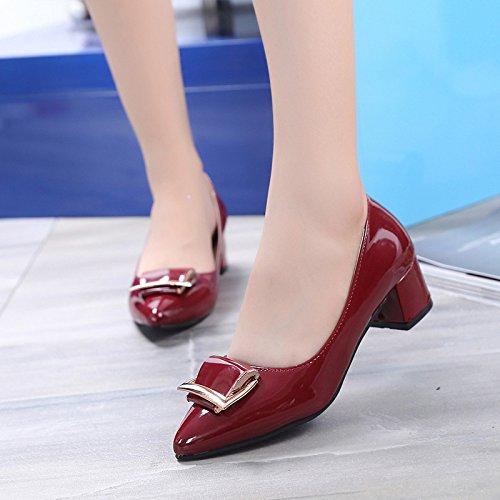Zapatos La heeled Nueva Shallow Zapatos Winered La De Para De Con áspero Primavera MUYII Y Casuales Zapatos Trabajo El De Moda High Mujer Otoño Coreana qzHwc4I