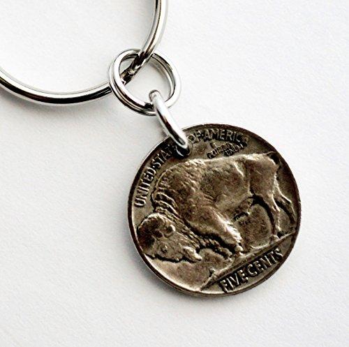 - 1929 Buffalo Nickel Key Ring, U.S. Coin Keychain