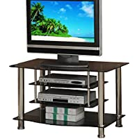 Black Metal Shiny Glass TV Media Stand Shelf Modern Support Up to 36