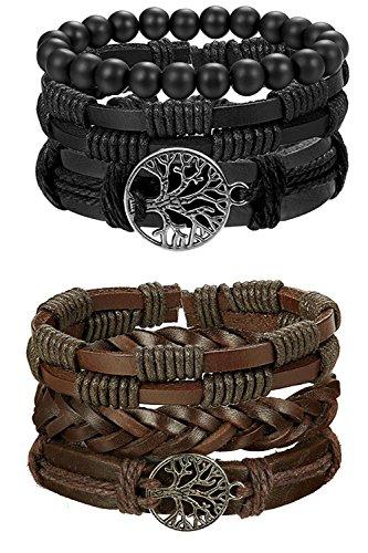 Besteel 6PCS Leather Bracelet Life Tree for Men Women Braided Bracelet Wrap...