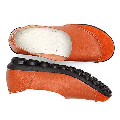 Blivener Womens Casual Flats Slip On Driving Shoes Leather Walking Loafers Orange Dyrz1