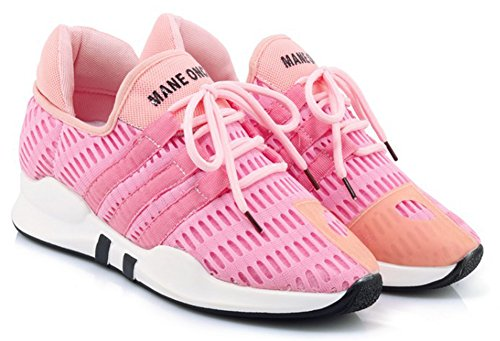Aisun Dames Casual Mesh Ademend Lage Top Lace Up Ronde Neus Lift Sportieve Sneakers Loopschoenen Roze