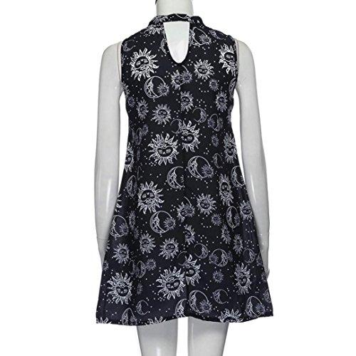 Keerads Femmes Licol Floral V-cou Soirée De Plage Sans Manches Mini Robe Noire