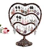 Earring Display, Botitu 11 inch Tall Jewelry Holder with 58 Hooks and 3 Tiers Earring Holder for Girls and Women Jewelry Tree, Perfect for Dresser, Nightstand and Countertop Jewelry Display (Copper)
