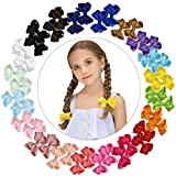DEEKA 40PCS 3'' Boutique Stacked Bow Clips Spiked Ribbon Hair Bows Hand-made for Girls