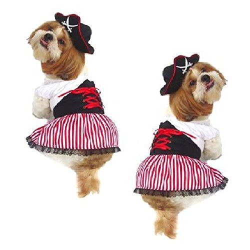 Puppe Love Costumes (LADY PIRATE DOG COSTUMES - Dress Your Pup Nautical Halloween Sailor Dress & Hat(Size 3))