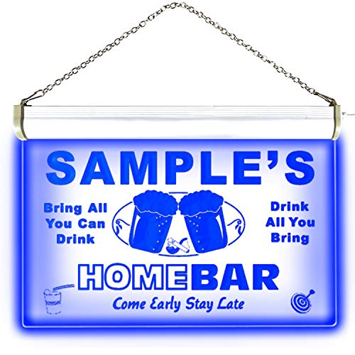 p-tm-b Name Personalized Custom Home Bar Beer Neon Light Sign Blue 16'' x 12'' by AdvPro Custom (Image #2)