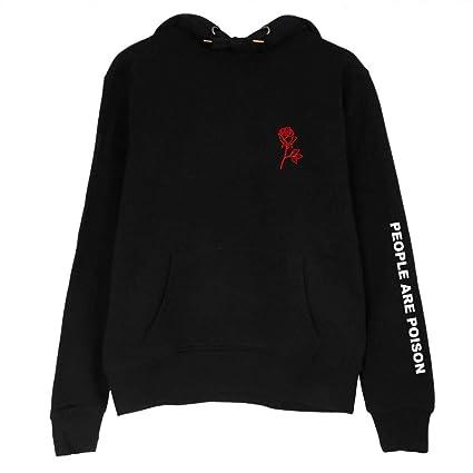 58995c1fb1528b Damen Kapuzenshirt Pullover Herbst Buchstabe Aufdruck Rose Embroidery  Langarm Cute Chic Mit Taschen Mit Tunnelzug Casual Hoodie Sweatshirt:  Amazon.de: ...