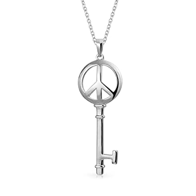 e54c0633e3383 Open World Peace Sign Key Pendant Necklace For Teen For Women For  Girlfriend 925 Sterling Silver