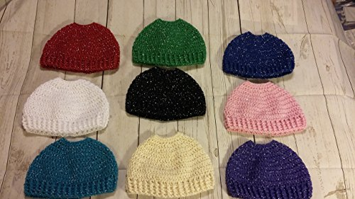 Soft Handmade Crochet Messy Bun / Ponytail Hat / Beanie Adult Size Metallic - Multiple Color Choices