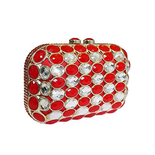 Italiana de Anna Cecere mujeres diseñado Gioello joya embrague bolsa de cóctel por la noche - rojo