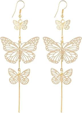 Elegant Womens Lady Metal Butterfly Earrings Ear Stud Dangle Drop Hook Jewelry