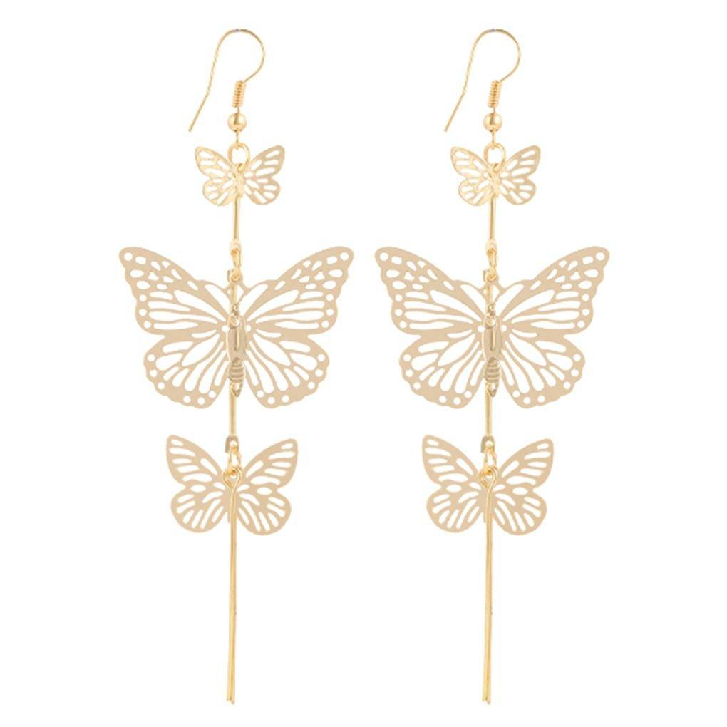 Bobury 1 Pair Charming Women Butterfly Dangle Earrings Girl Wedding Hollow Long Tassels Drop Ear Rings Lady Jewelry
