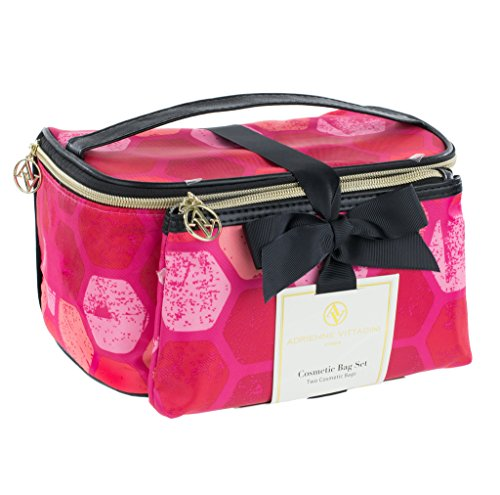 adrienne-vittadini-set-of-2-train-cases-black-and-pink-hex