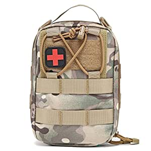 OULYLAN Compact MOLLE First Aid Kit Military Medical Utility Tactical EMT Ifak Pouch for Travel, Car, Camping, Outdoor Sport (Camouflage)