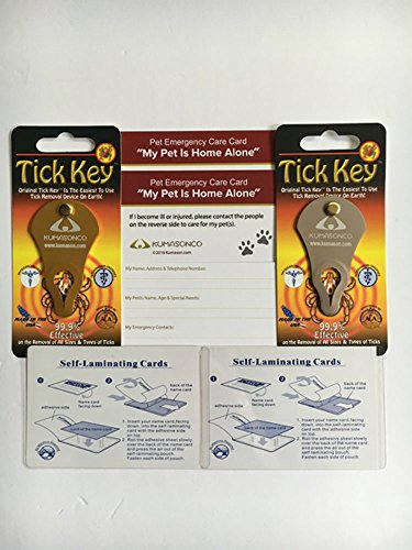 Tick Remover (2 Pack) Gold and Sand with 2 Pet Emergency Cards and 2 Self Laminating Pouches