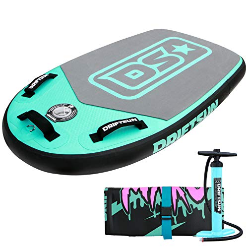 Driftsun Mako Inflatable Bodyboard Package – Portable Bodyboard with RigidAir Drop Stitch Technology, Available in Green…