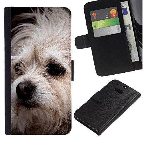 EuroCase - HTC One M8 - Bolognese mutt dog white fur canine - Cuero PU Delgado caso cubierta Shell Armor Funda Case Cover
