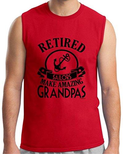 Retirement Grandpa Gift Retired Sailor Sleeveless T-Shirt Large Red