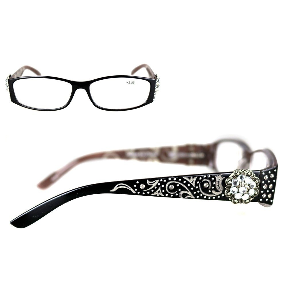 Montana West Reading Glasses Western Antique Silver Multi Crystals Conchos Black, +1.50
