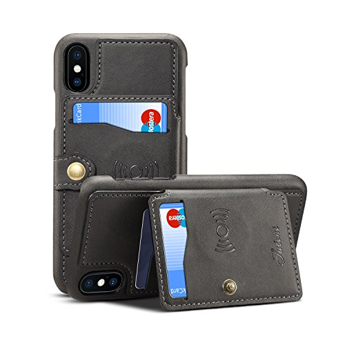 Leather Case for iPhone X XS Apple,Card Holder Pocket Kickstand Quality Sticking Protective Slim Soft Wallet Cover Shell-Black ()
