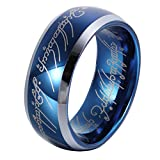 L-Ring 8MM Men's Blue Wedding Rings Laser Pattern Domed Tungsten Ring Polished Beveled Edge, Size 7-14(11)