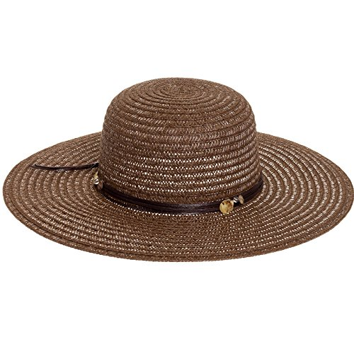 Scala Womens Toyo Big Brim Paper Braid Sun Hat (Brown) (Braid Paper Brim Hat)