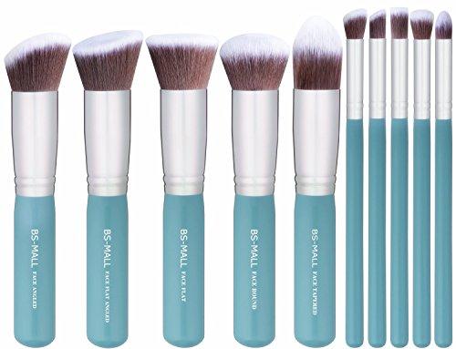 BS-MALL 2016 New Premium Synthetic Kabuki Makeup Brush Set Cosmetics Foundation Blending Blush Eyeliner Face Powder Brush Makeup Brush Kit (SkyBlue Silver)