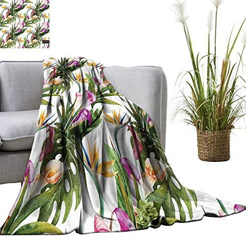 - YOYI Soft Blanket Microfiber Tropical Calla Lilies Strelitz Easy Travel 60