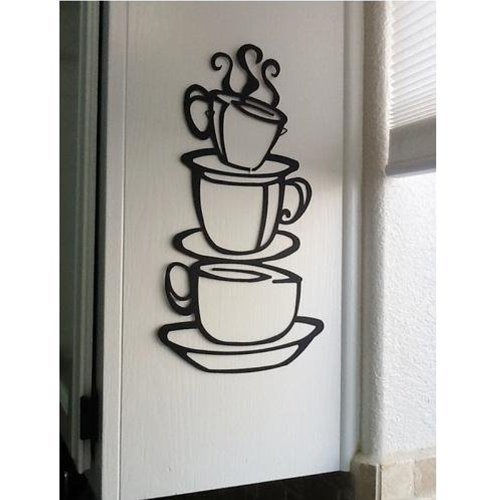 Coffee Cup Double sided visual Removable Wall Vinyl Sticker Decals Decor Art Bedroom Design - Mural Designs