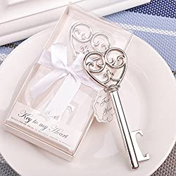 Youkwer 24 PCS Skeleton Silver Key Shaped Beer Bottle Cap Opener with Exquisite Packaging for Wedding Party Favors Gift & Shiny Decorations,Key to My Heart (Silver)