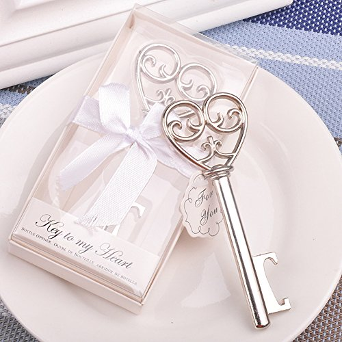Youkwer 24 PCS Skeleton Silver Key Shaped Beer Bottle Cap Opener with Exquisite Packaging for Wedding Party Favors Gift & Shiny Decorations,Key to My Heart -