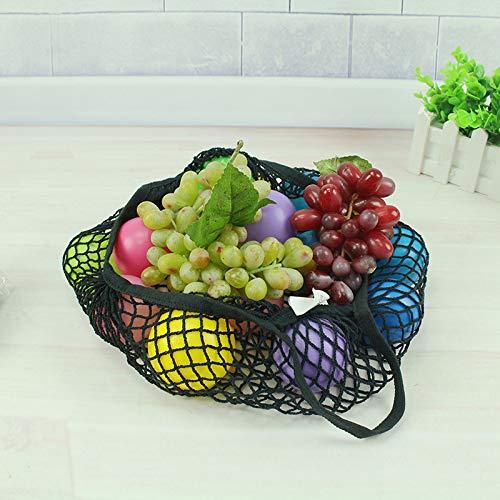 Scrox 35CM algod/ón Black 1pcs Bolsa de Malla Bolsas Compra Reutilizables Ecol/ógicas Bolsas de Frutas y Vegetales F/ácil de Llevar y almacenar Frutas Bolsa de Compras 32