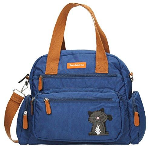 Swankyswans Womens Kempton multi zip Lola, motivo: gatto D borsa a tracolla Blue (Dark Blue)