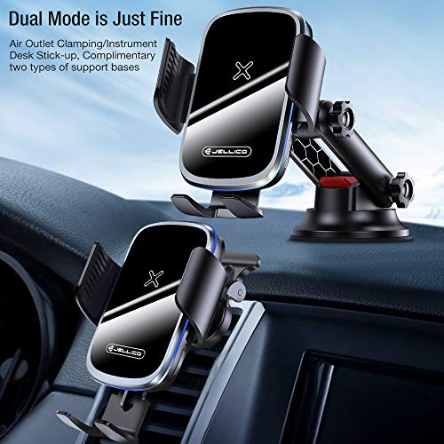 Wireless Car Charger Mount [Auto Clamping], 15W Qi Fast Charging Intelligent Infrared Car Mount, Windshield Dash Air Vent Phone Holder for iPhone 12 11 Pro Xs XR, Samsung S20, S10, and More