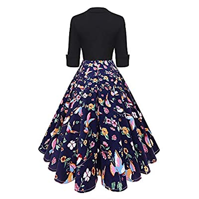 ICE Cream Women Vintage Long Sleeve O Neck Evening Party Printing Hight Waist Solid Dress