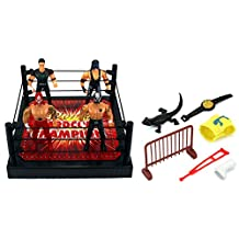 VT World Hardcore Champions Wrestling Toy Figure Play Set w/ Ring, 4 Toy Figures, Accessories