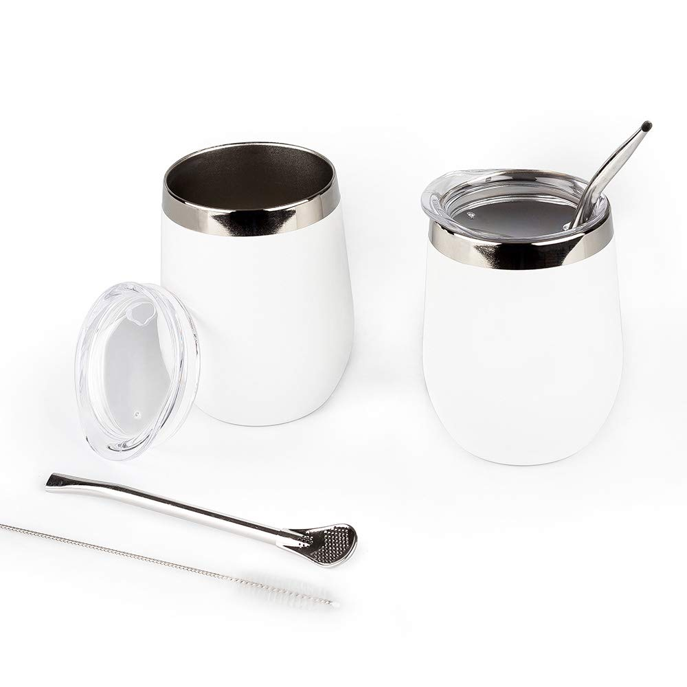 DOKIO Wine Glasses With Stainless Steel Straw 12oz Sippy Cup Tumbler White Stemless Double Wall Vacuum Insulated With Lid Unbreakable For Ice Hot Drink Coffee Champagne Cocktail Mug 2 Sets