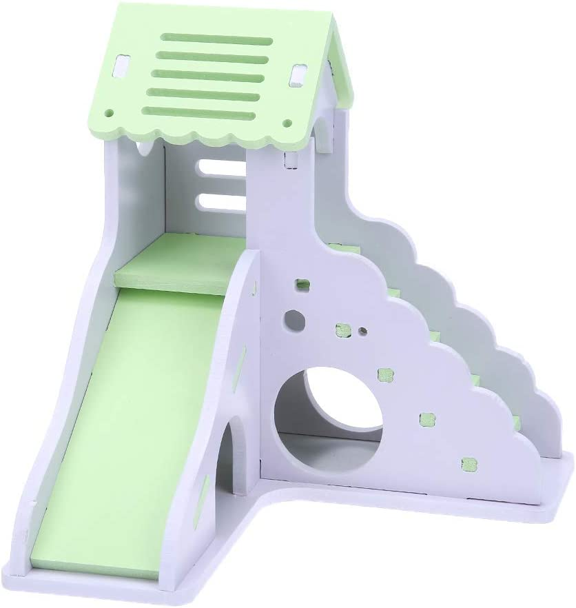 KingbeefLIU Juguete para Mascotas Mini Tobogán De Madera Colorido DIY Montar Casa De Hámster Animales Pequeños Juguete para Mascotas Azul