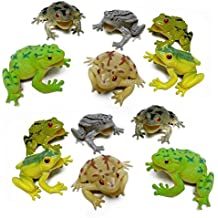 Fun Central AZ916 12 pieces 3 Inch Toy Frogs Figure Fun Toys, Assorted Plastic Frog Animals Toys, Realistic Toy Frogs, Frog Toys For Kids