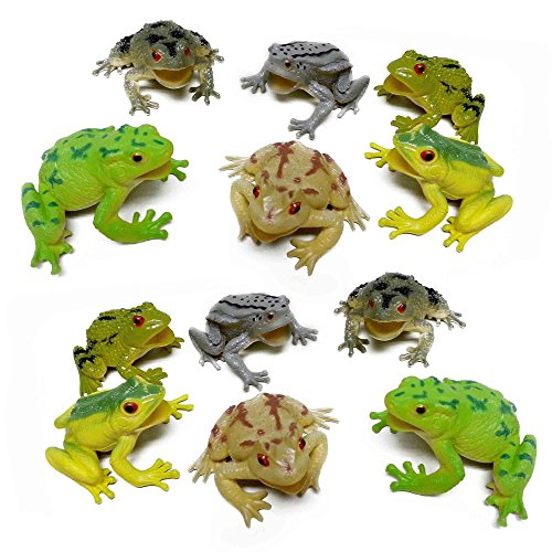 Fun Central AZ916 12 Pieces 3 Inch Toy Frogs Figure Fun Toys, Assorted Plastic Frog Animals Toys, Realistic Toy Frogs, Frog Toys for ()