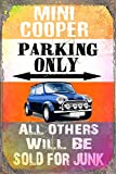 mini cooper parking sign - Mini Cooper Parking Only Metal Sign