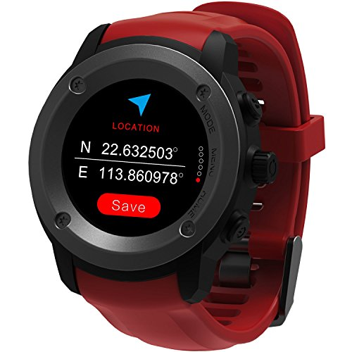 Parnerme GPS Running Watch Heart Rate Monitor Wrist Sport Watch Smart Notifications GPS Smart Watch for Men Women Multi-Sports Modes Compatible Phone with 3-4 Days Standby Charging Station (Red)
