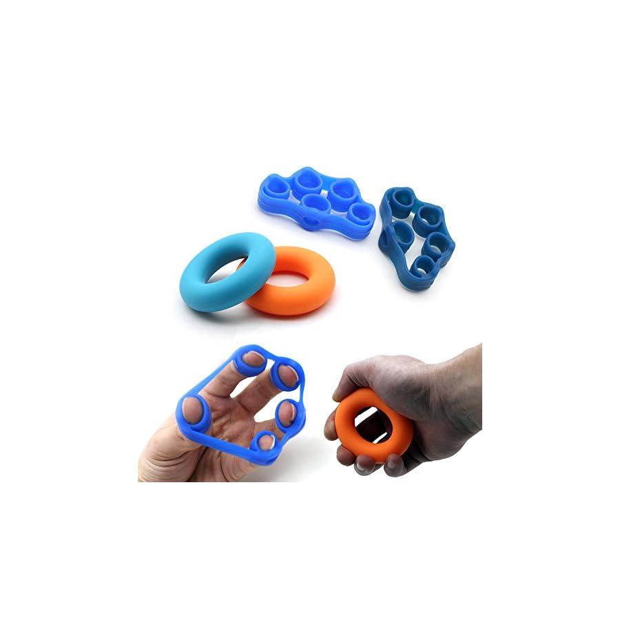 Finger Grip, Finger Strengthener, Exercise Rings, Finger Extensor Bands, Finger Resistance Bands, Finger Exerciser and Exercise Ring, Injury Rehabilitation and Stress Relief (4 Pack)